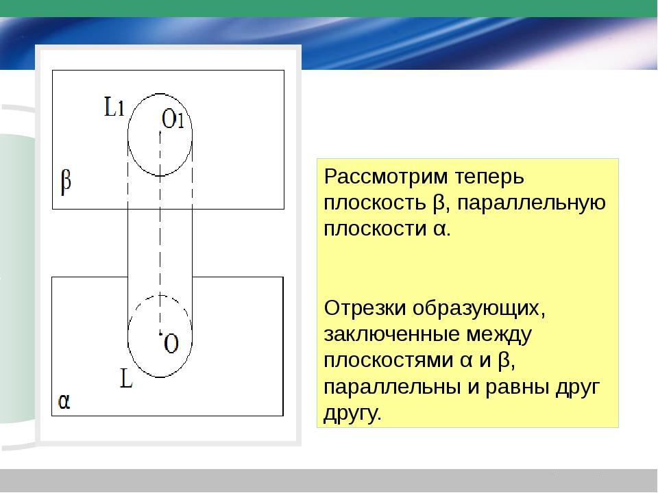 Рассмотрим теперь плоскость β, параллельную плоскости α. Отрезки образующих,...