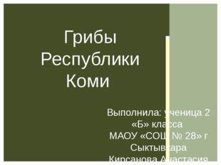 Выполнила: ученица 2 «Б» класса МАОУ «СОШ № 28» г Сыктывкара Кирсанова Анаста