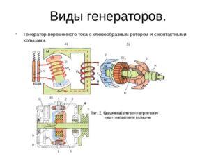 Генератор переменного тока с клювообразным ротором и с контактными кольцами.