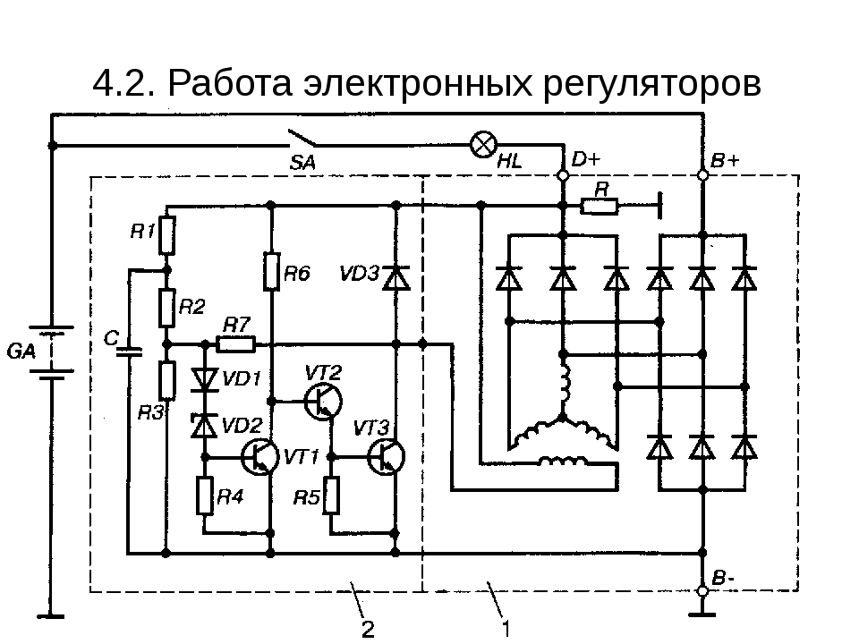 4.2. Работа электронных регуляторов напряжения.