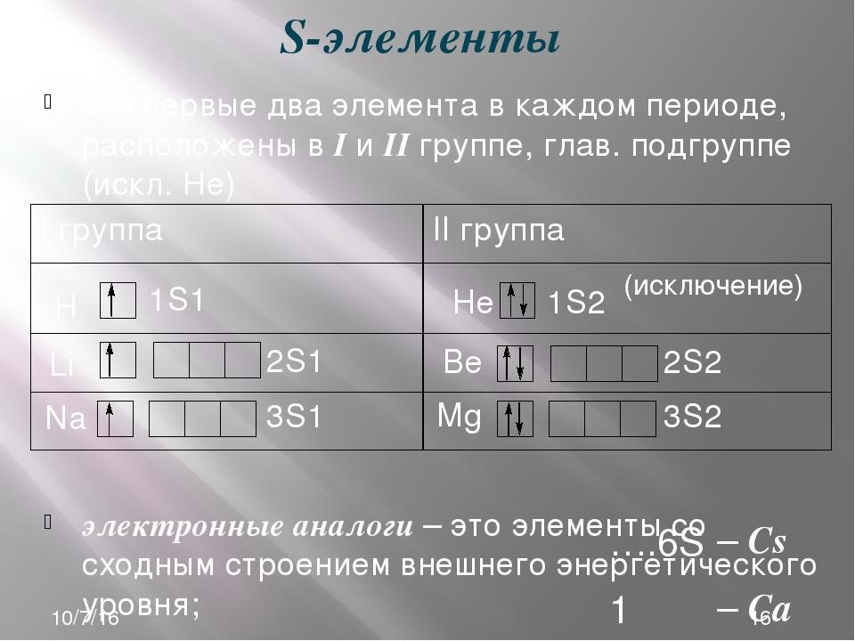 S-элементы это первые два элемента в каждом периоде, расположены в I и II гру...