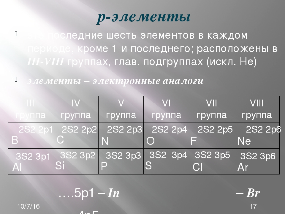 р-элементы это последние шесть элементов в каждом периоде, кроме 1 и последне...