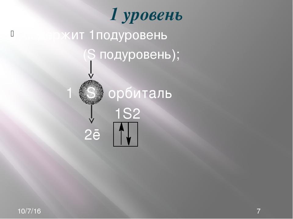 содержит 1подуровень (S подуровень); 1 уровень 1S2 2ē 1 S орбиталь