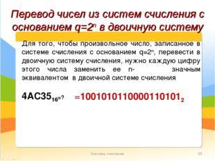 Системы счисления * Перевод чисел из систем счисления с основанием q=2n в дво