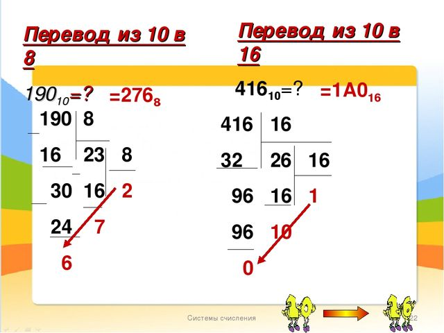 Системы счисления * Перевод из 10 в 8 19010=? =2768 Перевод из 10 в 16 41610=...