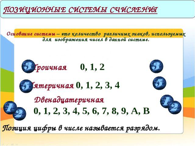 Основание системы – это количество различных знаков, используемых для изобра...