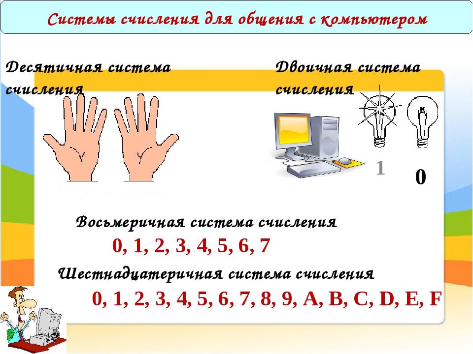 Системы счисления для общения с компьютером 1 0 Десятичная система счисления...
