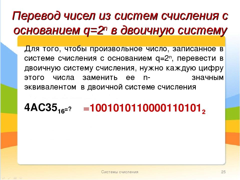 Системы счисления * Перевод чисел из систем счисления с основанием q=2n в дво...