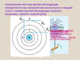 Направление вектора магнитной индукции определяется как направление касательн
