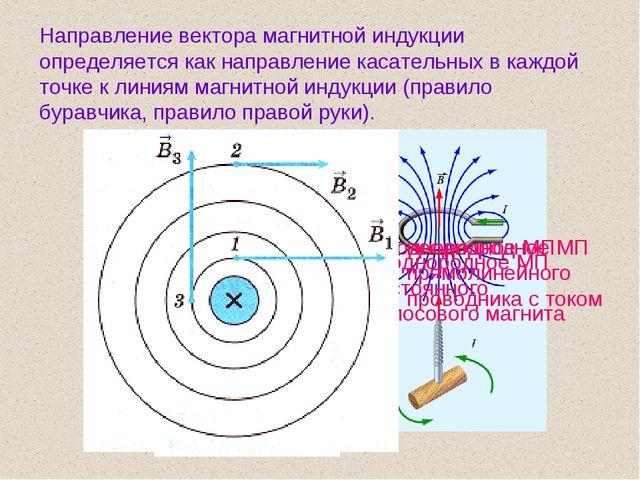Направление вектора магнитной индукции определяется как направление касательн...