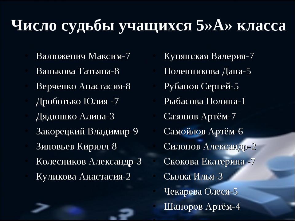 Число судьбы учащихся 5»А» класса Валюженич Максим-7 Ванькова Татьяна-8 Верче...