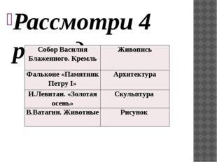 Рассмотри 4 репродукции. Определи, к каким видам пластических искусств они от