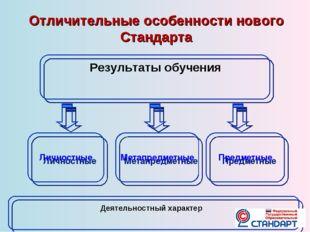 Метапредметные Предметные Личностные Отличительные особенности нового Станда