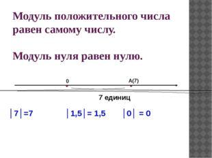 Модуль положительного числа равен самому числу. Модуль нуля равен нулю. А(7)