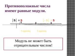 Противоположные числа имеют равные модули. Модуль не может быть отрицательным