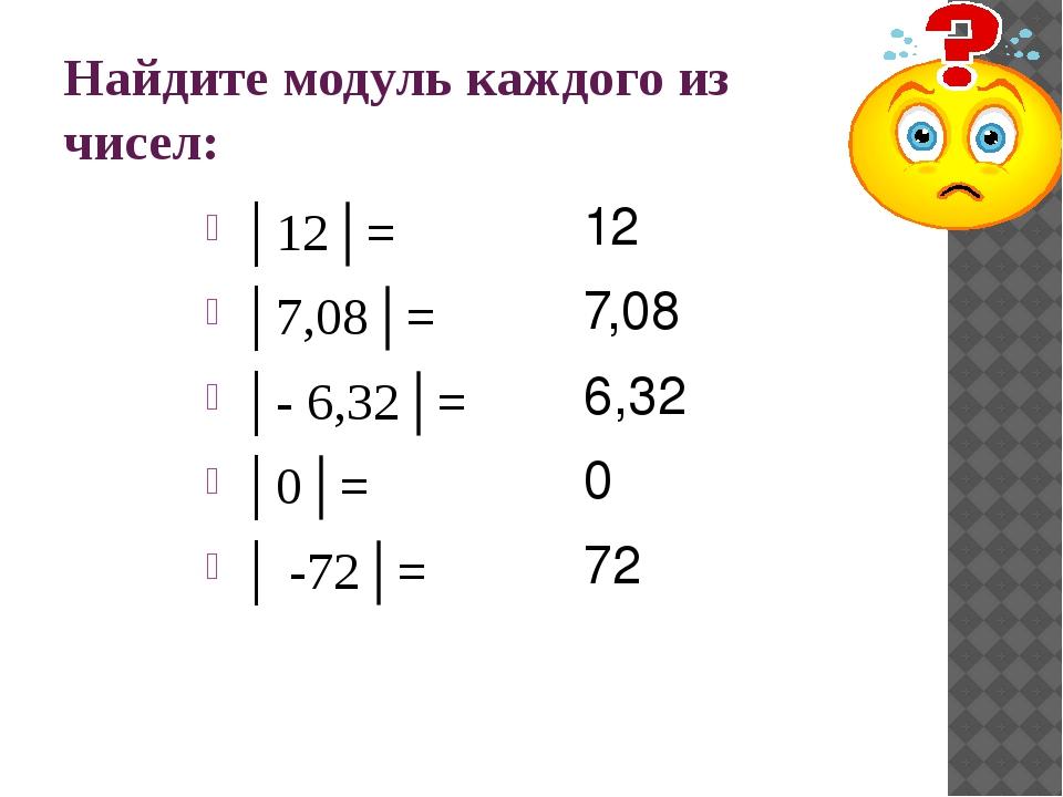 Найдите модуль каждого из чисел: │12│= │7,08│= │- 6,32│= │0│= │ -72│= 12 7,08...