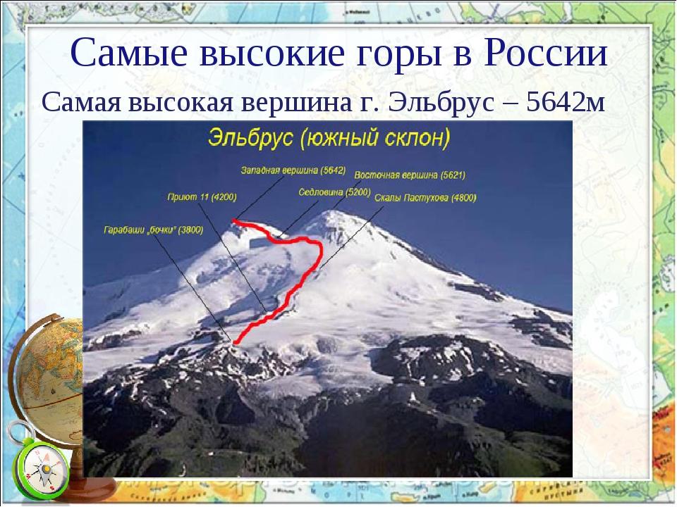 Самые высокие горы в России Самая высокая вершина г. Эльбрус – 5642м