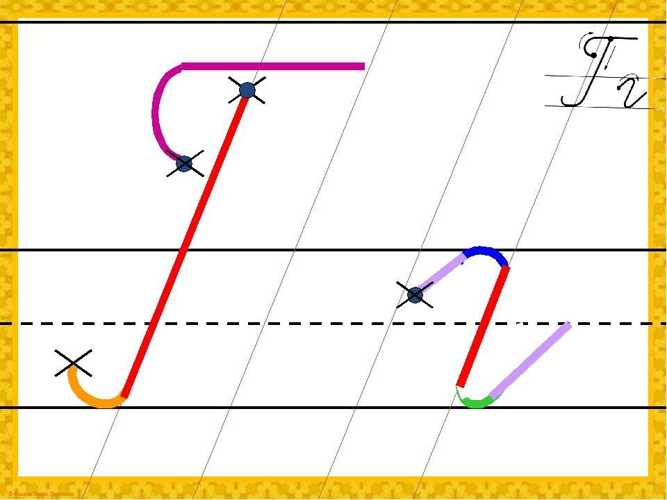 Каждый шаг алгоритма написания буквы запускается кликом мыши.