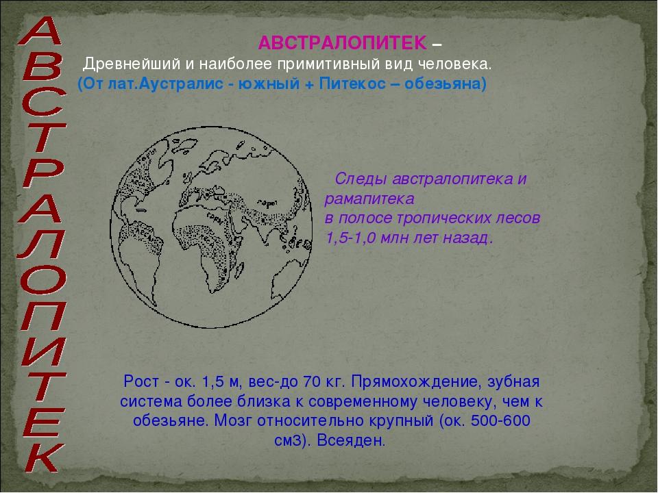 АВСТРАЛОПИТЕК – Древнейший и наиболее примитивный вид человека. (От лат.Аустр...
