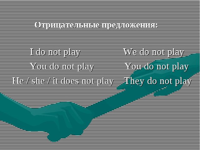 Отрицательные предложения: I do not play We do not play You do not play You...