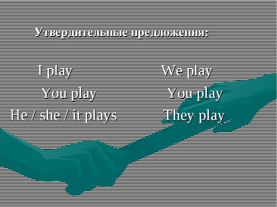 Утвердительные предложения: I play We play You play You play He / she / it p...