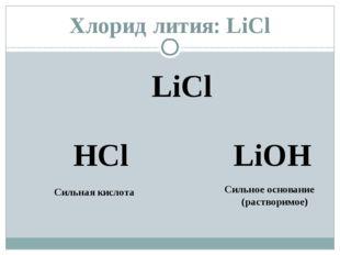 Хлорид лития: LiCl LiCl HCl LiОН Сильная кислота Сильное основание (растворим