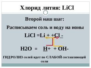Второй наш шаг: Расписываем соль и воду на ионы LiCl =Li + +Cl - H2O = H+ + O