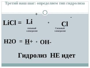 LiCl = + Li - Cl H2O = H+ OH- + + сильный электролит Гидролиз НЕ идет Третий