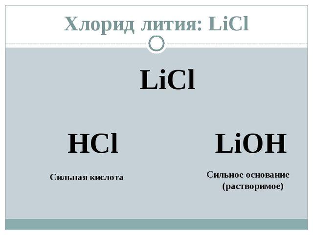 Хлорид лития: LiCl LiCl HCl LiОН Сильная кислота Сильное основание (растворим...
