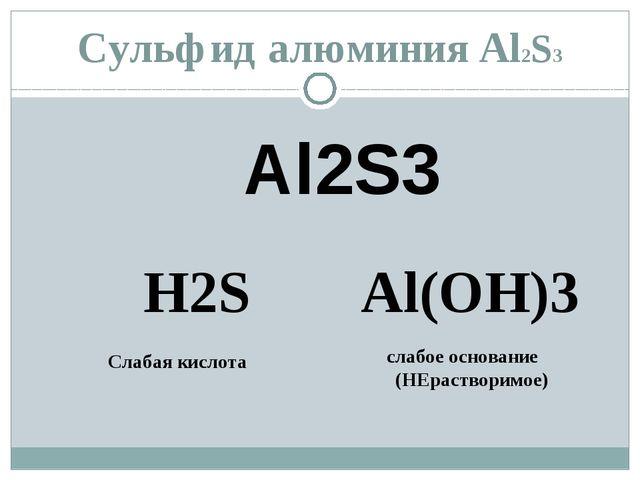 Сульфид алюминия Al2S3 Al2S3 H2S Al(OH)3 Слабая кислота слабое основание (НЕр...
