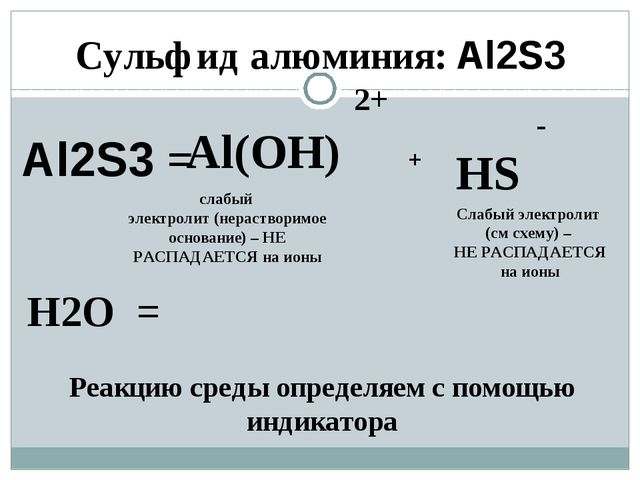 Al2S3 = 2+ Al(ОН) - НS H2O = + слабый электролит (нерастворимое основание) –...