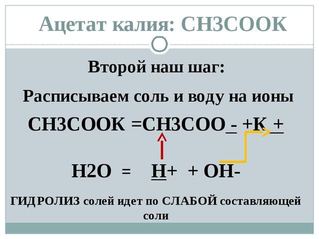 Ацетат калия: СН3СООК Второй наш шаг: Расписываем соль и воду на ионы СН3СООК...