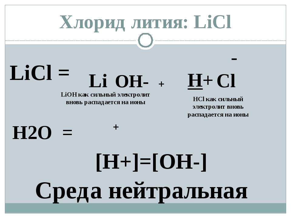 LiCl = Li - Cl H2O = H+ OH- + LiОН как сильный электролит вновь распадается н...