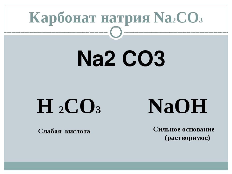 Карбонат натрия Na2СО3 Na2 CO3 H 2CО3 NaОН Слабая кислота Сильное основание (...