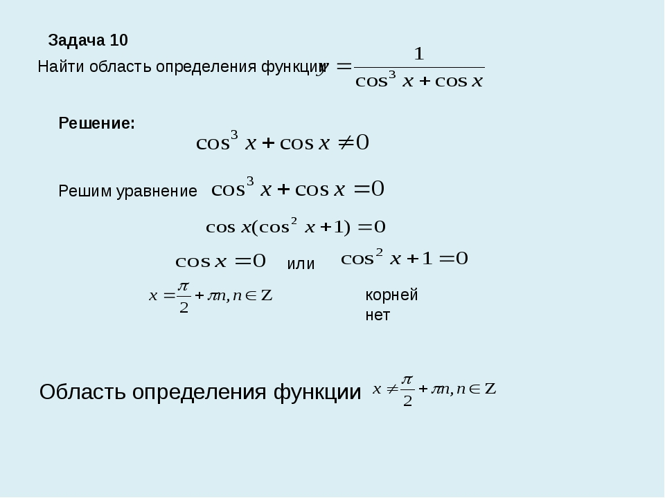 Задача 10 Найти область определения функции Решение: Решим уравнение или корн...