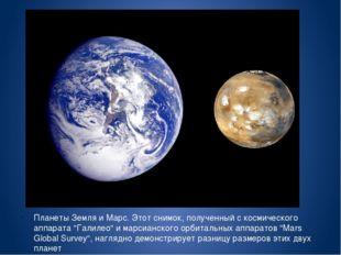 """Планеты Земля и Марс. Этот снимок, полученный с космического аппарата """"Галил"""