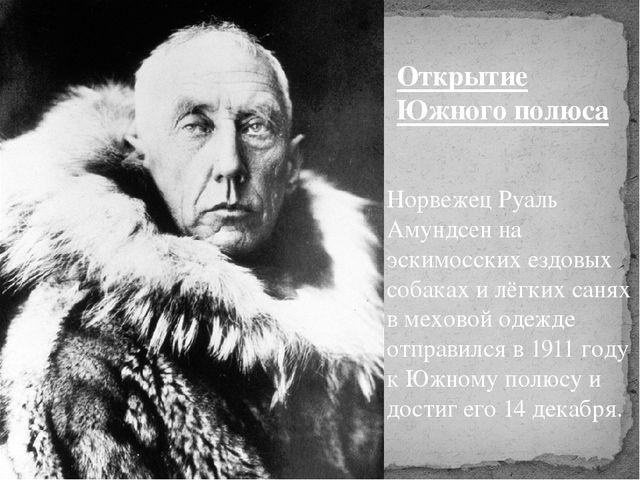 Норвежец Руаль Амундсен на эскимосских ездовых собаках и лёгких санях в мехов...