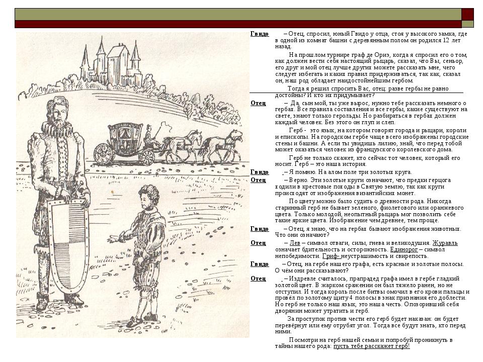 Гвидо – Отец, спросил, юный Гвидо у отца, стоя у высокого замка, где в одной...
