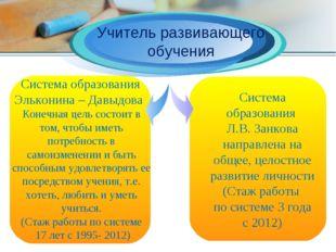 Учитель развивающего обучения Система образования Эльконина – Давыдова Конеч