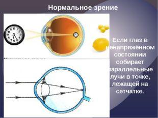 Нормальное зрение Если глаз в ненапряжённом состоянии собирает параллельные л
