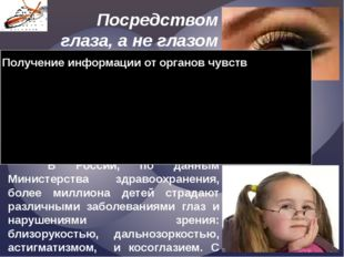 Посредством глаза, а не глазом Смотреть на мир умеет разум. Уильям Блейк  В