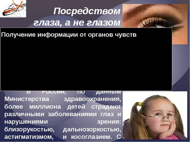 Посредством глаза, а не глазом Смотреть на мир умеет разум. Уильям Блейк  В...