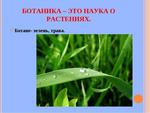 БОТАНИКА – ЭТО НАУКА О РАСТЕНИЯХ. Ботане- зелень, трава.