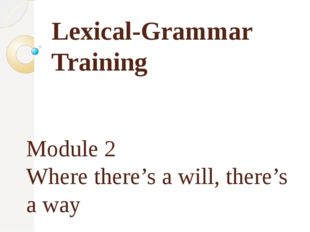 Lexical-Grammar Training Module 2 Where there's a will, there's a way