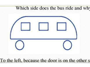 Which side does the bus ride and why? To the left, because the door is on the
