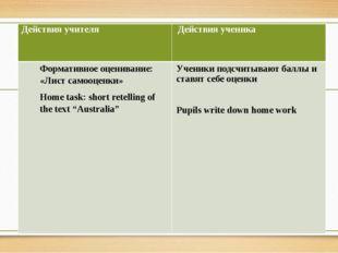 Действия учителя Действия ученика Формативноеоценивание: «Лист самооценки» H