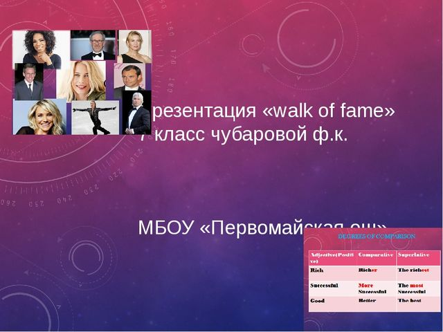 Презентация «walk of fame» 7 класс чубаровой ф.к. МБОУ «Первомайская ош»