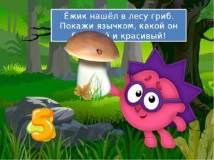 Ёжик нашёл в лесу гриб. Покажи язычком, какой он большой и красивый!