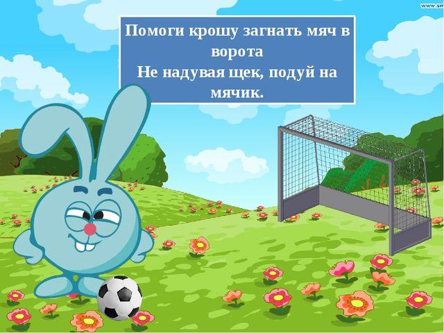 Помоги крошу загнать мяч в ворота Не надувая щек, подуй на мячик.