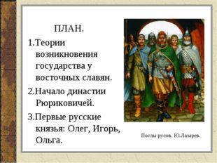ПЛАН. 1.Теории возникновения государства у восточных славян. 2.Начало династ